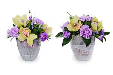 colorful floral bouquet of roses,cloves and orchids arrangement centerpiece in glass vase isolated on white background Stock Photo - 16242128