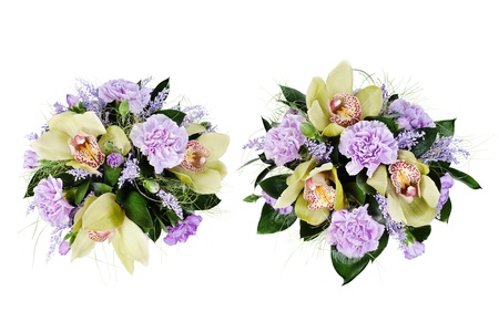 colorful floral bouquet of roses,cloves and orchids isolated on white background Stock Photo - 16242119