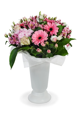 colorful floral bouquet of roses, lilies and orchids arrangement centerpiece in vase isolated on white background Stock Photo - 16242113