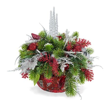 Christmas arrangement of Christmas balls, snowflakes, candles , beads and pine branches isolated on white background photo