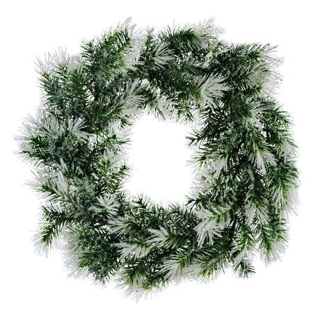 wreath of fir branches isolated on white background photo