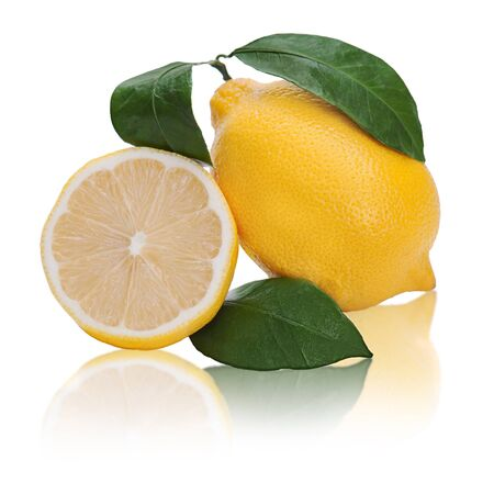 fresh lemon citrus with cut and green leaves isolated on white background photo