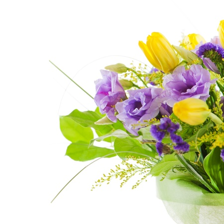fragment of colorful bouquet of roses, tulips and freesia isolated on white background Stock Photo - 16811529