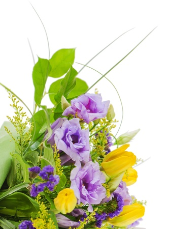 fragment of colorful bouquet of roses, tulips and freesia isolated on white background photo