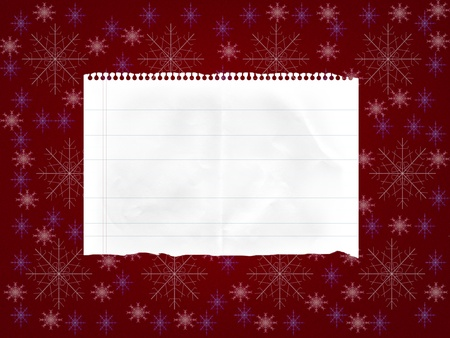 sheet of paper on abstract red background with snowflakes Stock Photo - 16811541