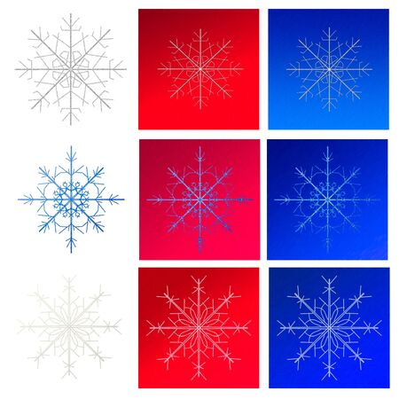 set of snowflakes on backgrounds Stock Photo - 16811539