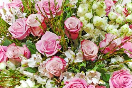 colorful floral bouquet of roses, lilies and orchids arrangement centerpiece Stock Photo - 16988814