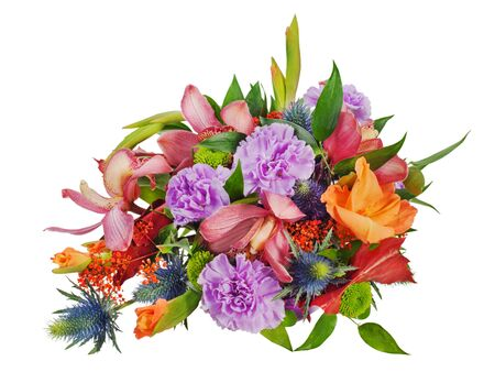colorful floral bouquet of roses,cloves and orchids isolated on white background Stock Photo - 16988812