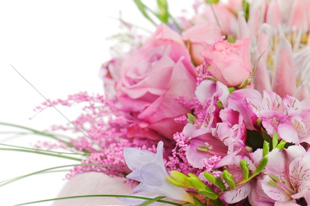 fragment of colorful bouquet of roses, cloves, orchids and freesia isolated on white background Stock Photo - 17174236