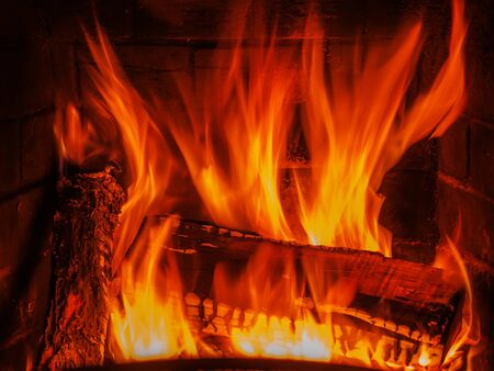 fireplace with wood and fire Stock Photo - 17174267