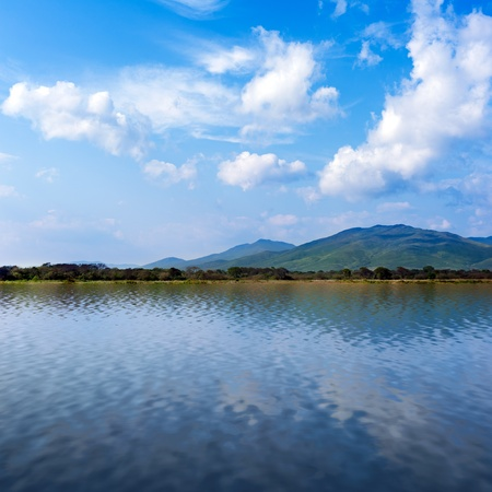 seaview: seaview with beautiful clouds and mountains  Stock Photo