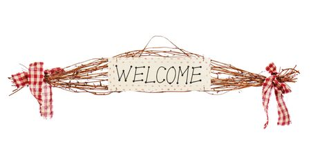 Welcome sign isolated on white background photo