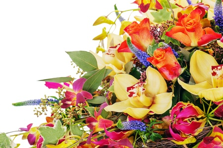 fragment of colorful floral bouquet of roses, cloves and orchids isolated on white background photo
