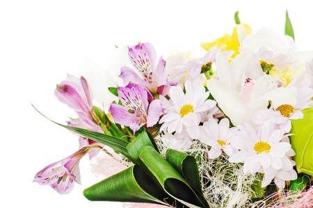 fragment of colorful bouquet of roses, lilies and orchids arrangement centerpiece isolated on white background photo