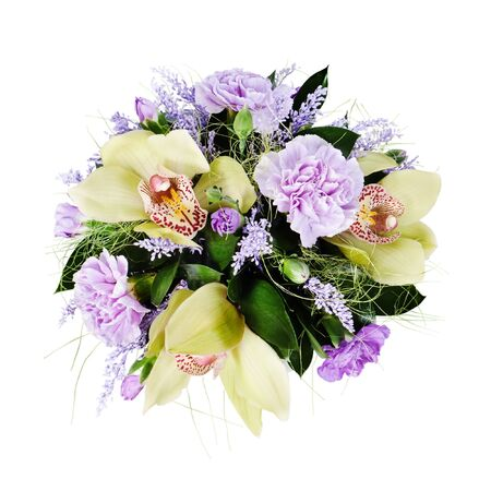 colorful floral bouquet of roses,cloves and orchids isolated on white background photo