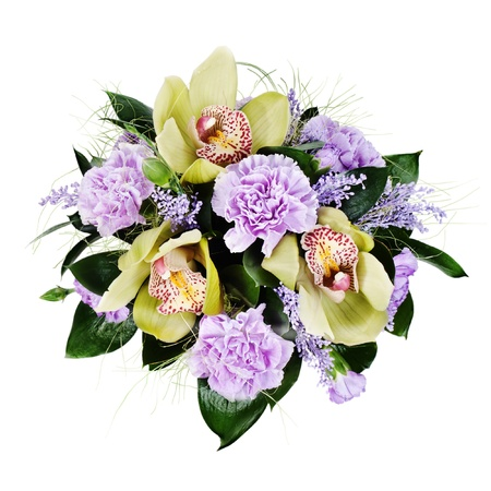 colorful floral bouquet of roses,cloves and orchids isolated on white background Stock Photo