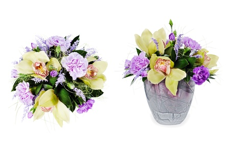 colorful floral bouquet of roses,cloves and orchids isolated on white background Stock Photo - 17875401