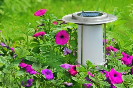 powered: Solar powered garden lamp  Stock Photo