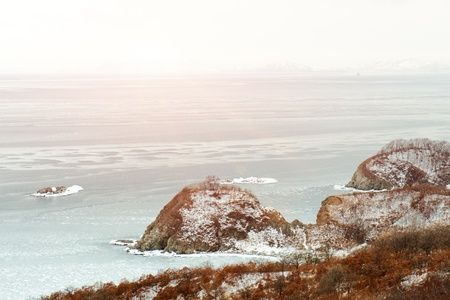 Beautiful scenic view of coast Japanese sea in winter. Stock Photo - 18084976