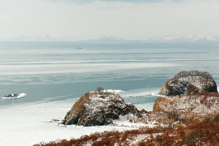 Beautiful scenic view of coast Japanese sea in winter. Stock Photo - 18085003