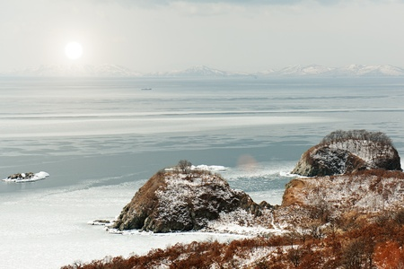 Beautiful scenic view of coast Japanese sea in winter. Stock Photo - 18085010