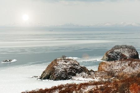 Beautiful scenic view of coast Japanese sea in winter. Stock Photo - 18085010
