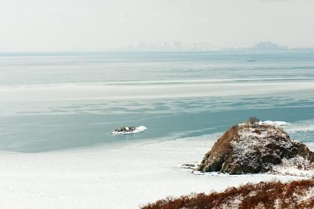Beautiful scenic view of coast Japanese sea in winter. Stock Photo - 18084982