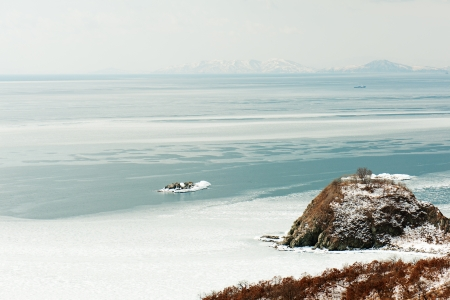 Beautiful scenic view of coast Japanese sea in winter. Stock Photo - 18084982