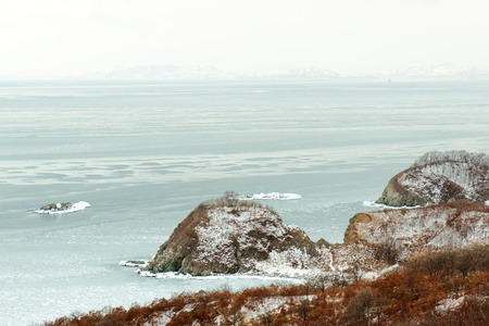 Beautiful scenic view of coast Japanese sea in winter. Stock Photo - 18084980