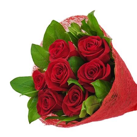 flores de cumpleaños: ramo de flores de colores de las rosas rojas aisladas sobre fondo blanco Foto de archivo
