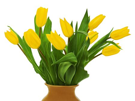 Flower bouquet from  yellow tulips in brown vase isolated on white background. photo