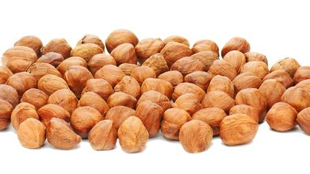 Hazelnuts background isolated on white background.  Stock Photo - 18624573