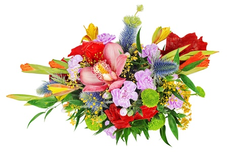 Floral bouquet of orchids, gladioluses and carnation isolated on white background.