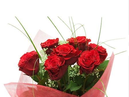Flower bouquet from red roses isolated on white background  photo