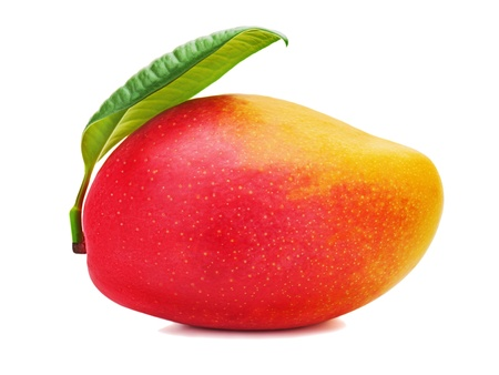 mango leaves: Fresh mango fruit with green leaves isolated on white background