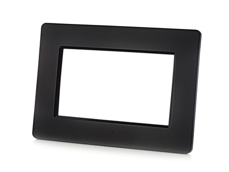 Black digital LCD photo frame with place for your photo  isolated on white background  photo