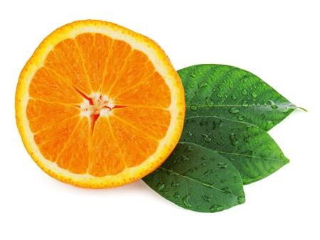 Fresh orange fruit with green leaves isolated on white background  Stock Photo