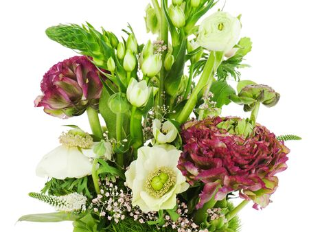 lirio blanco: Fragmento de bouquet de colores aislados sobre fondo blanco