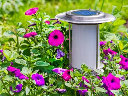 Solar-powered garden lamp on flower background.
