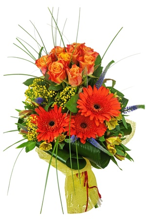 Colorful bouquet from roses and gerberas isolated on white background. Closeup. Imagens
