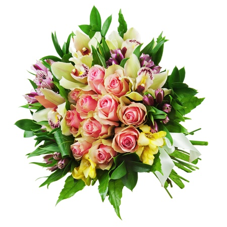 Floral bouquet of roses, lilies and orchids arrangement centerpiece isolated on white background. Closeup. photo
