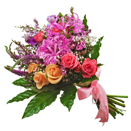 Floral bouquet of roses, lilies and orchids isolated on white background. Closeup. photo