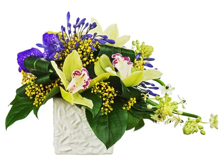 Bouquet from orchids and Arabian Star flower (Ornithogalum arabicum) in vase isolated on white background. Closeup. photo