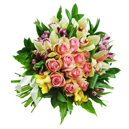 Floral bouquet of roses, lilies and orchids arrangement centerpiece isolated on white background. Closeup. Banco de Imagens