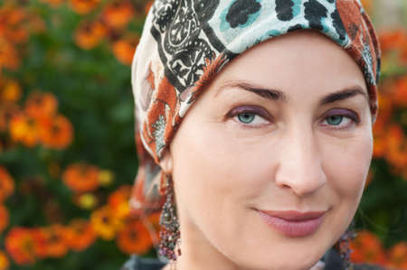 Portrait of fine woman looking up. Closeup. photo