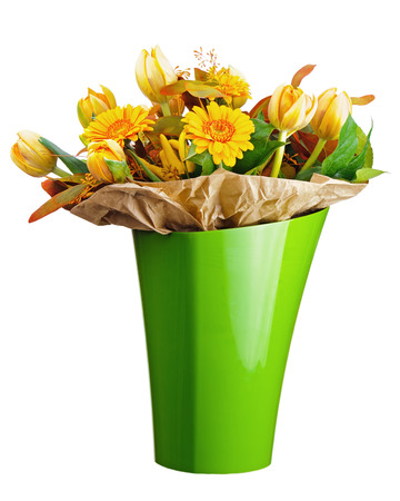 Colorful bouquet from tulips and gerbera flowers isolated on white background. Closeup. photo