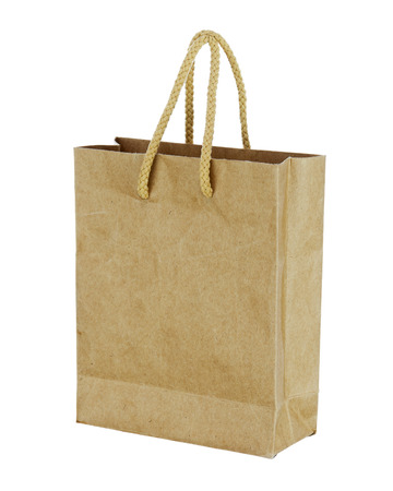 Recycle brown paper bag isolated on white background. Closeup.