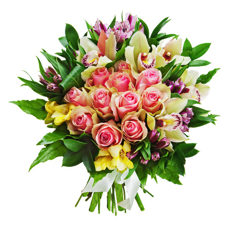Floral bouquet of roses, lilies and orchids arrangement centerpiece isolated on white background. Closeup. Stock Photo