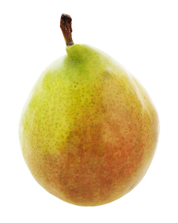 Ripe pear isolated on white background. Closeup. photo