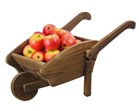 carretilla de mano: Manzanas rojas en la carretilla de mano de madera aislada sobre fondo blanco. Primer plano.